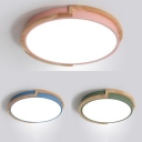 Bathroom Circle LED Flush Ceiling Light Acrylic Macaron Loft Blue/Green/Pink in Warm/White