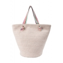 Summer Fashion Colored Stripe Strap Beach Bag Straw Shoulder Tote Bag 38*30*22 CM