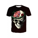 Hot Popular Rose Skull Pattern Basic Round Neck Short Sleeve Black T-Shirt
