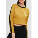 Cool Zip Tape Patched Long Sleeve Round Neck Plain Cropped Yellow Sweatshirt