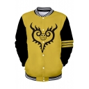 Cool Comic Character Print Rib Stand Collar Yellow Baseball Jacket