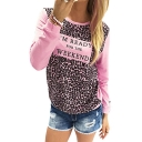 Popular Leopard Letter I'M READY FOR THE WEEKEND Pattern Round Neck Leisure Sweatshirt