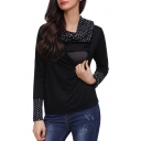 Fashion Polka Dot Printed Cowl Neck Maternity Nursing Casual Sweatshirt