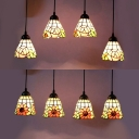 Orange Sunflower/Pink Rose Pendant Light 4 Lights Rustic Style Stained Glass Island Lamp for Hotel