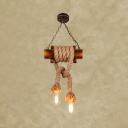 2 Lights Open Bulb Hanging Light Rustic Style Bamboo & Manila Rope Pendant Light in Beige for Balcony