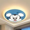 Nursing Room Mimi Mouse Flushmount Light Metal Cartoon Blue LED Ceiling Light in Warm/White/Third Gear