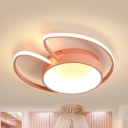 Ear-Shaped Child Bedroom Flush Ceiling Light Acrylic Nordic Blue/Pink LED Ceiling Lamp in Warm/White