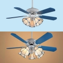 Tiffany Cone Semi Flushmount Light Glass 3/5 Heads White LED Ceiling Fan with 5 Blade for Restaurant