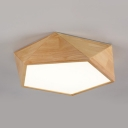 Pentagon Study Room LED Flush Mount Light Wood Contemporary Ceiling Lamp in Warm/White