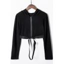 Womens New Stylish Elastic Tape Hem Long Sleeve Zip Up Cropped Black Hoodie