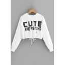 Cool Letter CUTE AND PSYCHO Pattern Long Sleeve Drawstring Hem Crop White Hoodie
