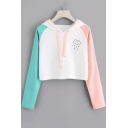 Cute Cartoon Cloud Rain Print Color Block Long Sleeve Cropped White Hoodie