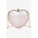 New Trendy Transparent Plain Heart Shape Crossbody Clutch Bag 15.3*7.5*13.5 CM