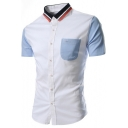 Classic Rib Collar Color Block Short Sleeve One Pocket Patched Chest Button Front Slim Fit Shirt