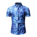Men's Summer New Stylish Allover Star Printed Short Sleeve Slim Button Shirt