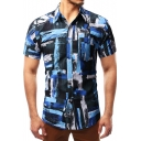Summer Unique Blue Painting Basic Short Sleeve Button Front Fitted Shirt for Men