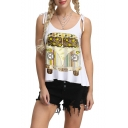 Summer Girls Stylish Bus Printed Tied Straps White Casual Loose Cami Top