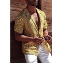 Hot Popular Fashion Yellow Floral Printed Notched Lapel Collar Short Sleeve Camp Shirt for Men