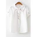 Girls Cute Cartoon Embroidery Turn-Down Collar Short Sleeve White Button Down Shirt