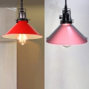 Metal Conical Pendant Light with Swivel Joint Factory 1 Light Retro Loft Ceiling Light in Pink/Red