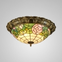 Tiffany Vintage Domed Flush Ceiling Light Stained Glass Ceiling Lamp with Pink Rose for Corridor