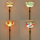 Stained Glass Bowl Floor Light Single Light Tiffany Stylish Vintage Standing Light