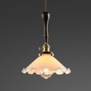 Antique Scalloped Edge Pendant Light One Light Milk Glass Hanging Light in White for Kitchen