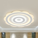 Slim Blossom LED Flush Mount Light Cute Acrylic Warm/White/2 Lighting Mode Ceiling Lamp for Nursing Room
