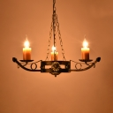 Fake Candle Stair Chandelier Wrought Iron 3 Heads Retro Loft Pendant Lamp in Aged Brass
