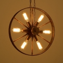 Restaurant Wheel Suspension Light Wrought Iron Six Lights Retro Loft Rust Hanging Light