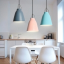 Macaron Bucket Shade Hanging Light 1 Light Aluminum Ceiling Pendant in Blue/Gray/Pink for Dining Room