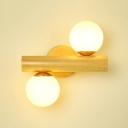 Nodic Led Lighting White Globe Shade Nature Wood 2 Light Wall Sconce for Bedroom