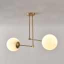Contemporary 2 Light Modo Suspended Light Designers Style Opal Glass Art Deco Chandelier