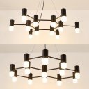 Cafe Villa Snowflake Chandelier Metal 12/13 Lights Modern Stylish Black Finish Pendant Light