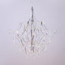 Dining Room LED Hanging Light Stainless Steel Modern Creative Chrome Chandelier in Warm/White