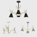 Contemporary 3 Light Chandelier Metal Antler Decoration Downlighting in Black/White/Gray Painted Finish
