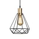 Black Diamond Wire Frame Hanging Light 1 Head Industrial Pendant Light for Corridor Foyer