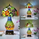 Colorful Flower/Grape/Petunia Desk Lamp 3 Lights Antique Tiffany Stained Glass Table Light for Bedroom