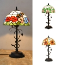 Glass Dragonfly/Rose/Sunflower Table Light Study Room Single Light Rustic Stylish Desk Light