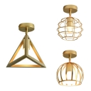 180°Rotatable Flush Mount Light Traditional Metal Ceiling Light in Gold for Hallway Bathroom
