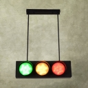 Creative Traffic Light Island Light 6 Lights Metal Island Pendant in Green&Red&Yellow for Bar