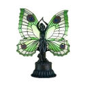 Restaurant Fairy Desk Light with Butterfly Wing Stained Glass Resin Green/Orange Table Light