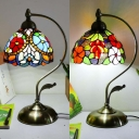 Study Room Flower/Grape Desk Light Stained Glass 1 Light Antique Tiffany Table Light with Plug-In Cord