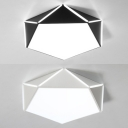 Acrylic Pentagon Shape Flush Light Study Room Modern Black/White LED Ceiling Lamp in Warm/White