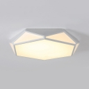 White Polyhedron LED Flush Ceiling Light Contemporary Metal Ceiling Lamp in Warm/White for Bathroom