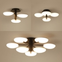 Acrylic Petal LED Semi Flushmount Light Living Room 3/4/9 Heads Ceiling Fixture in Warm/White
