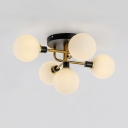 Modern Spherical Shade Ceiling Fixture Amber/Milk/Smoke Glass 5/9 Lights LED Semi Flush Mount Light for Bedroom