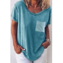 Summer Hot Fashion Simple Plain Round Neck Short Sleeve One Pocket Patched Casual Loose T-Shirt