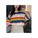 Girls Summer Trendy Colorful Striped Printed Round Neck Oversized Longline T-Shirt