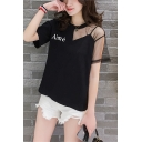 Summer Simple Letter AIME Print Mesh Panel Short Sleeve Casual Loose T-Shirt